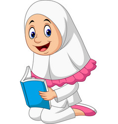 cartoon muslim girl reading a book vector image