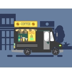 Cartoon style of a coffee van side vector