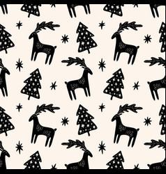christmas tree elm and deer simple scandi seamless vector image