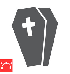 Coffin glyph icon halloween and scary casket vector