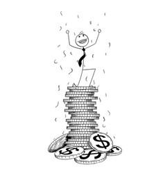 conceptual cartoon of businessman enjoying on top vector image