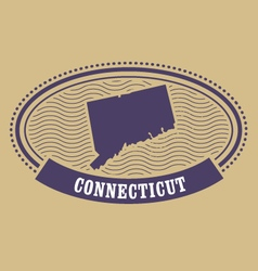 Connecticut map silhouette - oval stamp of state vector