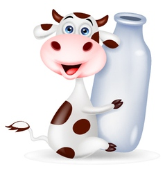 Cute cow cartoon with milk bottle vector image