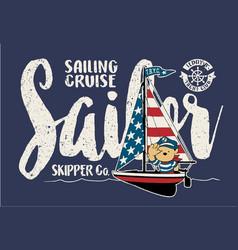 cute sailor bear on a sailboat vector image