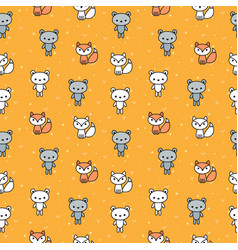 cute seamless pattern with bears and foxes for vector image