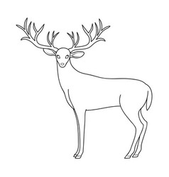 deer with big hornsanimals single icon in outline vector image