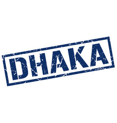 Dhaka blue square stamp vector
