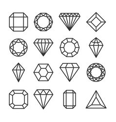 Diamonds or brilliants cute line icons set vector