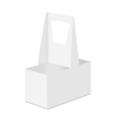 Disposable cardboard holder for 2 cups vector