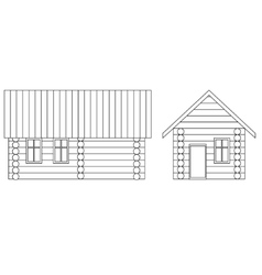Drawing house made of logs vector