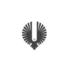 Eagle logo emblem a flying hawk hunter vector