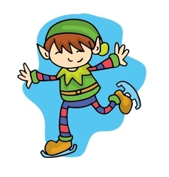 Elf skating cute kid cartoon vector