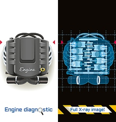 Engine Diagnostic Full X ray vector