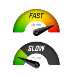 Fast and slow download speedometers vector