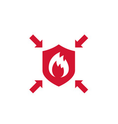 Fire protection resistance icon with shield vector