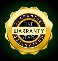 five years warranty golden badge guarantee label vector image