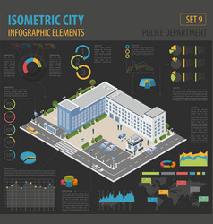 flat 3d isometric police department and city map vector image