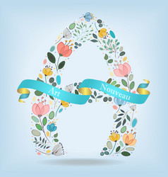 Floral letter a with blue ribbon vector