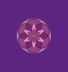 Flower life symbol sacred geometry purple logo vector