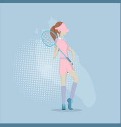 girl playing in badminton vector image