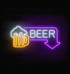 Glowing neon beer pub signboard in rectangle vector