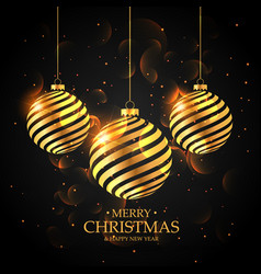 Golden christmas balls on black background merry vector