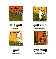 golf club logo icons set vector image