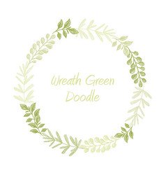 Green hand drawn leaves wreath vector