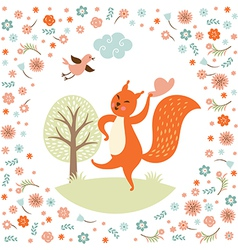 Greeting card squirell dances vector image vector image