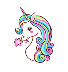 greeting card with unicorn on a white background vector image