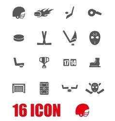 grey hockey icon set vector image