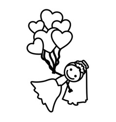 hand drawn silhouette with bride and balloons of vector image