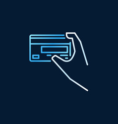 hand holding a credit card outline colored vector image