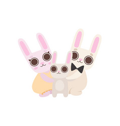 happy family bunnies father and mother rabbits vector image
