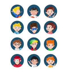 Happy little boys avatar icon set vector