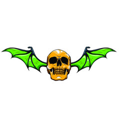 human skull with wings for tattoo design vector image