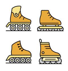 Inline skates icons set flat vector