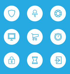 Interface icons line style set with shield vector