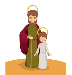 Jesus and joseph cartoon design vector
