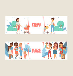 Kids store banner pram shop flyer vector