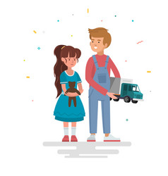 Kids with toys vector