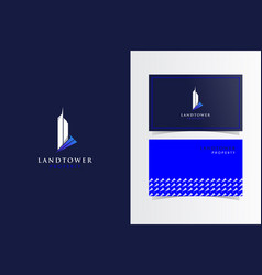 l tower monogram with business card template vector image