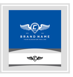 Letter c pin map wing logo design concept vector