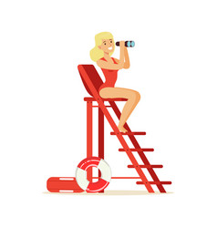 lifeguard girl in a red swimsuit sitting on vector image