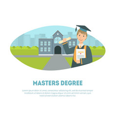Masters degree banner template happy male vector