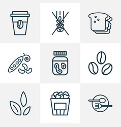 meal icons line style set with gluten free coffee vector image
