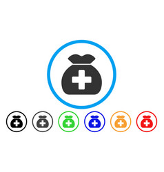 medical fund sack rounded icon vector image