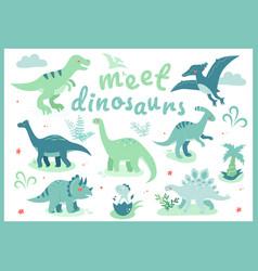 Meet dinosaurs - flat design style vector