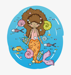 Mermaid woman with shells and fishes with snails vector