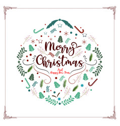 merry christmas and happy new year decorative vector image